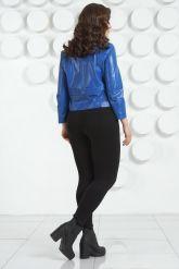 Модная кожаная куртка цвета индиго. Фото 4.