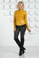 Модная кожаная куртка желтого цвета. Фото 1.