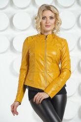Модная кожаная куртка желтого цвета. Фото 2.