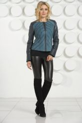 Комбинированная стильная кожаная куртка. Фото 1.