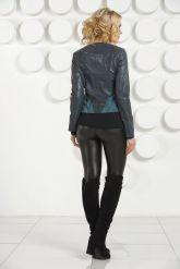 Комбинированная стильная кожаная куртка. Фото 4.