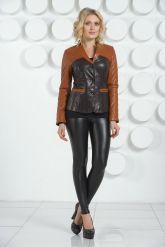 Оригинальная кожаная куртка  шоколадного цвета. Фото 1.