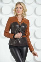 Оригинальная кожаная куртка  шоколадного цвета. Фото 3.