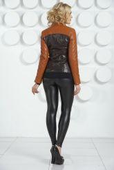 Оригинальная кожаная куртка  шоколадного цвета. Фото 4.