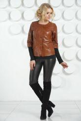 Кожаная куртка терракотового цвета на пуговицах. Фото 1.