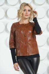 Кожаная куртка терракотового цвета на пуговицах. Фото 3.