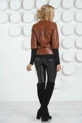 Кожаная куртка терракотового цвета на пуговицах. Фото 4.