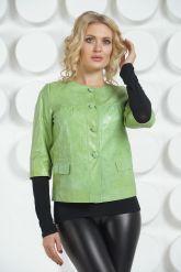Кожаная куртка салатового цвета. Фото 2.