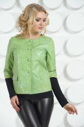 Кожаная куртка салатового цвета. Фото 3.