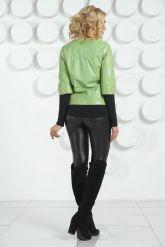 Кожаная куртка салатового цвета. Фото 4.