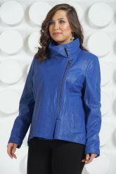 Стильная кожаная куртка синего цвета. Фото 3.
