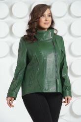 Стильная кожаная куртка зеленого цвета. Фото 2.