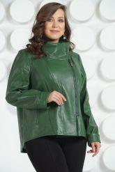 Стильная кожаная куртка зеленого цвета. Фото 3.