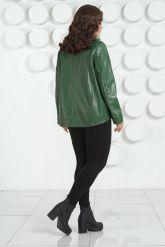 Стильная кожаная куртка зеленого цвета. Фото 4.