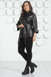 Черная кожаная куртка с поясом. Фото 7.