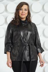 Черная кожаная куртка с поясом. Фото 5.