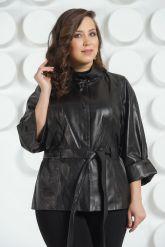 Черная кожаная куртка с поясом. Фото 6.