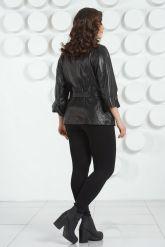 Черная кожаная куртка с поясом. Фото 8.
