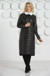 Длинное кожаное пальто с воротником из меха норки. Фото 2.