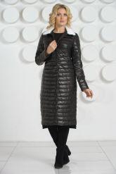 Длинное кожаное пальто с воротником из меха норки. Фото 3.