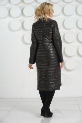 Длинное кожаное пальто с воротником из меха норки. Фото 4.