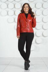 Красный кожаный пиджак больших размеров. Фото 1.