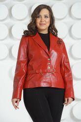 Красный кожаный пиджак больших размеров. Фото 3.