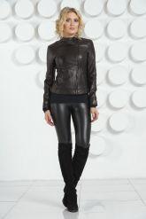 Кожаная молодежная куртка черного цвета. Фото 1.