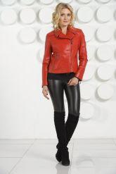 Кожаная куртка косуха красного цвета. Фото 1.