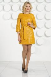 Желтый кожаный плащ. Фото 1.
