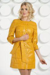 Желтый кожаный плащ. Фото 2.