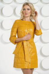 Желтый кожаный плащ. Фото 3.