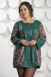 Кожаная куртка с принтом зеленого цвета больших размеров. Фото 2.