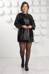 Женский комбинированный кожаный плащ. Фото 1.