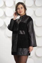 Женский комбинированный кожаный плащ. Фото 3.