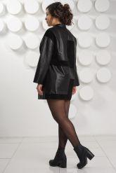 Женский комбинированный кожаный плащ. Фото 4.