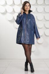 Удлиненная кожаная куртка больших размеров. Фото 1.