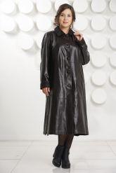 Длинный трапециевидный кожаный плащ больших размеров. Фото 1.