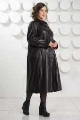 Длинный трапециевидный кожаный плащ больших размеров. Фото 3.
