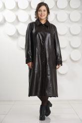 Длинный трапециевидный кожаный плащ больших размеров. Фото 5.