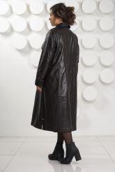 Длинный трапециевидный кожаный плащ больших размеров. Фото 6.