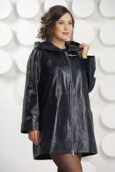 Удлиненная кожаная куртка с капюшоном больших размеров. Фото 2.