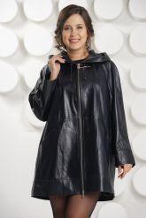 Удлиненная кожаная куртка с капюшоном больших размеров. Фото 3.