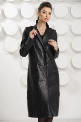 Стильный кожаный плащ черного цвета. Фото 2.