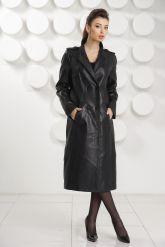 Стильный кожаный плащ черного цвета. Фото 5.