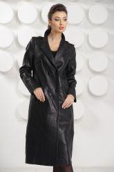 Стильный кожаный плащ черного цвета. Фото 6.