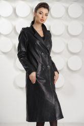 Стильный кожаный плащ черного цвета. Фото 7.