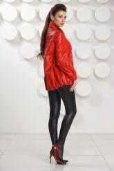 Модная кожаная куртка свободного покроя. Фото 5.
