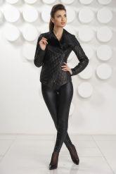 Стильная стеганная кожаная куртка. Фото 1.
