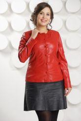 Кожаная куртка красного цвета женская. Фото 2.